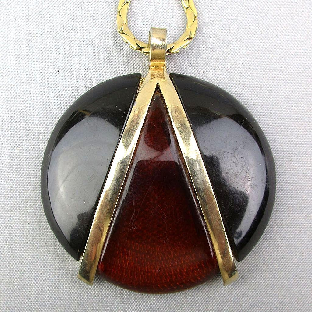 Modernist Givenchy Lucite Pendant Necklace Big - Bold