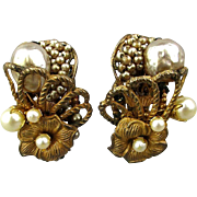 Miriam Haskell Clip Earrings Gilt Metal Baroque & Seed Pearls 1940s