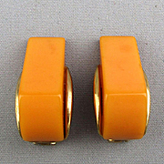 Art Deco Bakelite Geometric Cut Clip Earrings