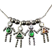 Vintage Sterling Silver Charm Necklace Family of 4 Charms