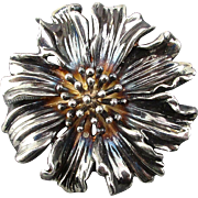 Vintage Tiffany & Co. Sterling Silver Marigold Flower Pin Brooch