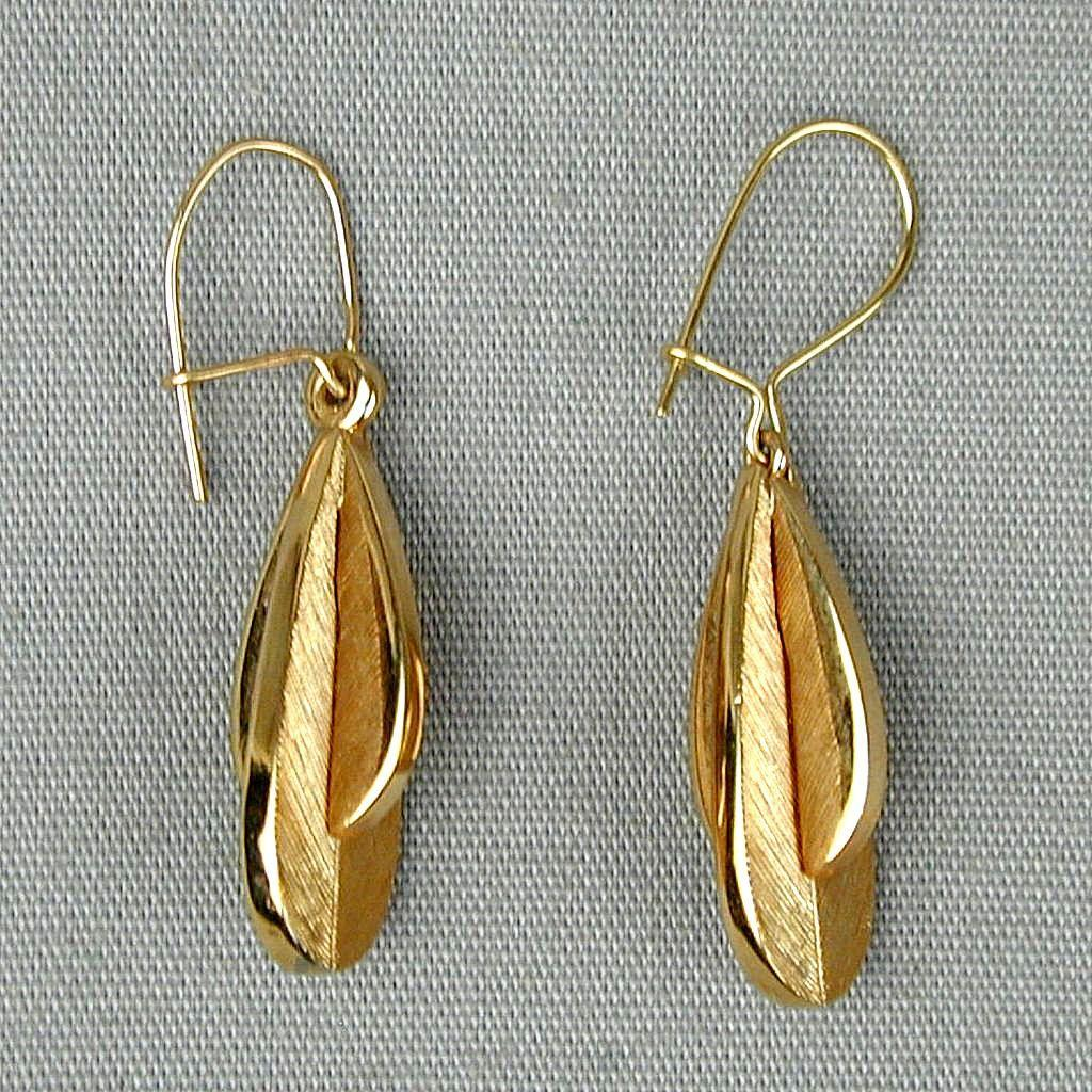 Modernist Gold-Filled Drop Dangle Earrings - Great Design