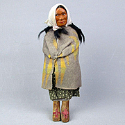 "Old 1930s Skookum Indian Doll Head Moves 10.5"" Tall"