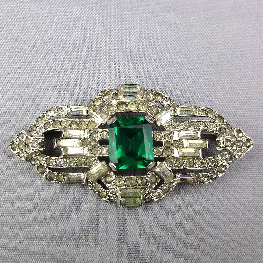Art Deco Rhinestone Pin Faux Diamonds - Emerald 1930s Glam Rhodium Plated