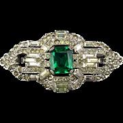 Art Deco Rhinestone Pin Faux Diamonds - Emerald 1930s Glam Rhodium Plated