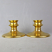 Pair Vintage PICKARD Hand Decorated Gilded Candle Holders