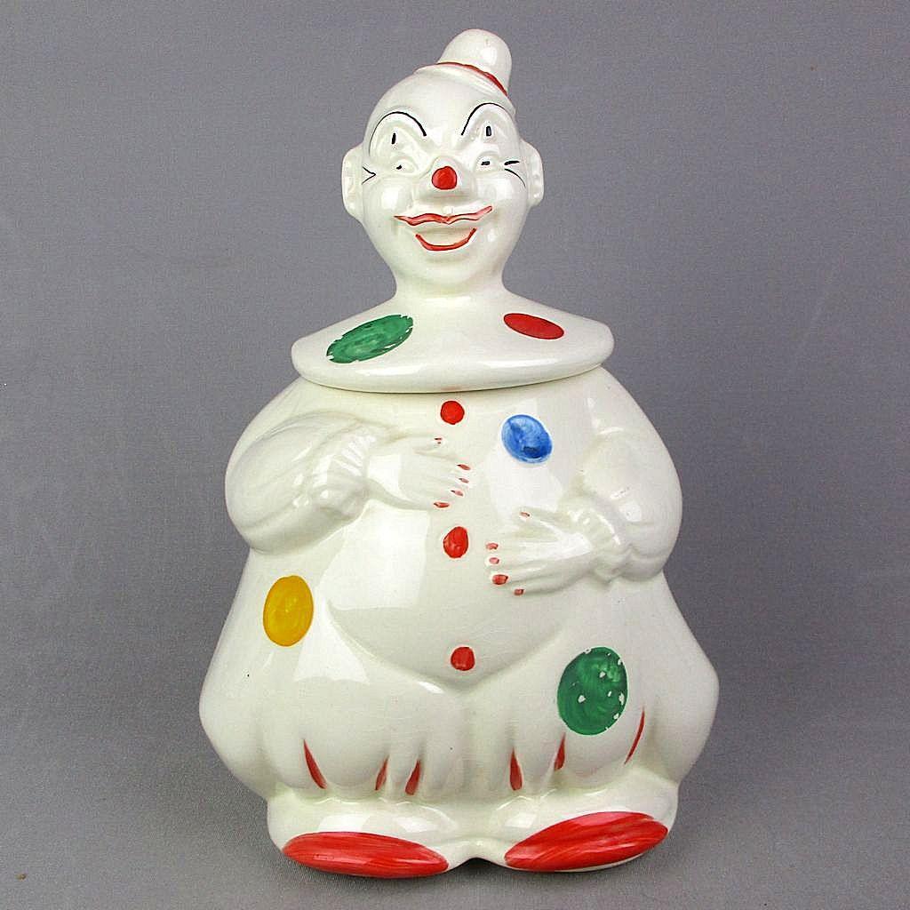 Vintage Hand Painted CLOWN Cookie Jar U.S.A. Ceramic