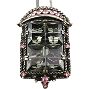 Art Deco 1940s Rhinestone Pendant Necklace