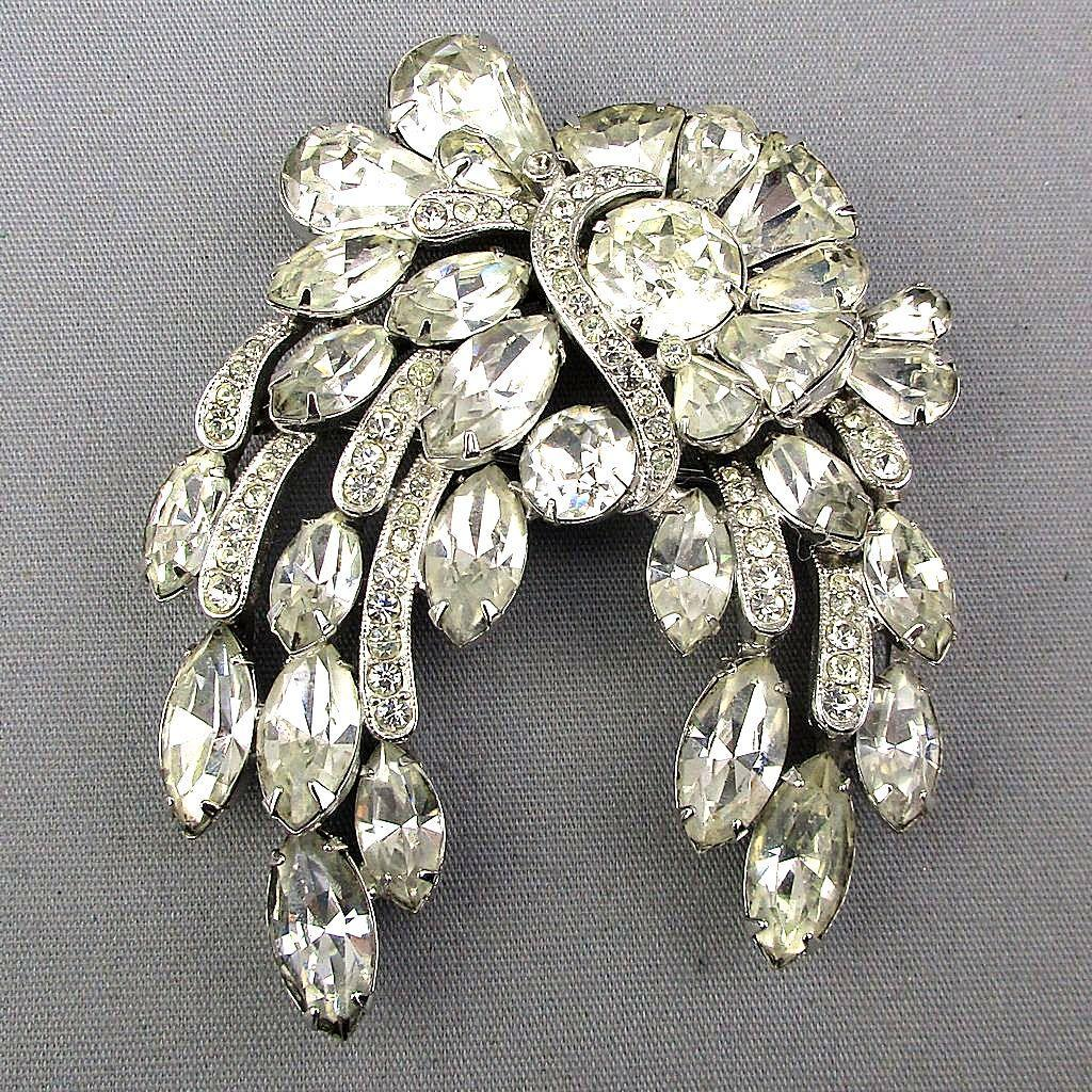 Signed Eisenberg 1940s Rhinestone Pin Clear Waterfall