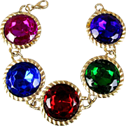 Jumbo Colored Lucite Rhinestones in Round Links Bracelet