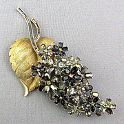 Crown Trifari Big Rhinestone Flower Pin 4 Inch Beauty