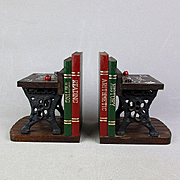 Pair Vintage Bookends SCHOOL DAZE Back-to-School 1950s Wood