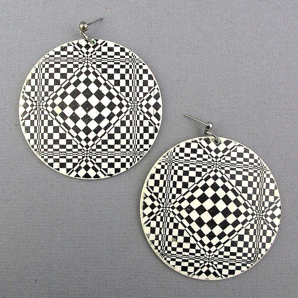 SOLD - 1960s MOD Op-Art Big Round Dangle Earrings Lucite