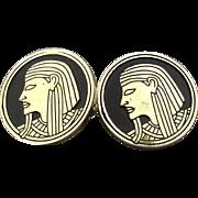 Vintage Swank Egyptian Motif Enameled Cufflinks