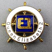 Old Brass - Enamel QE 2 Ship's Wheel Pin Cunard Souvenir