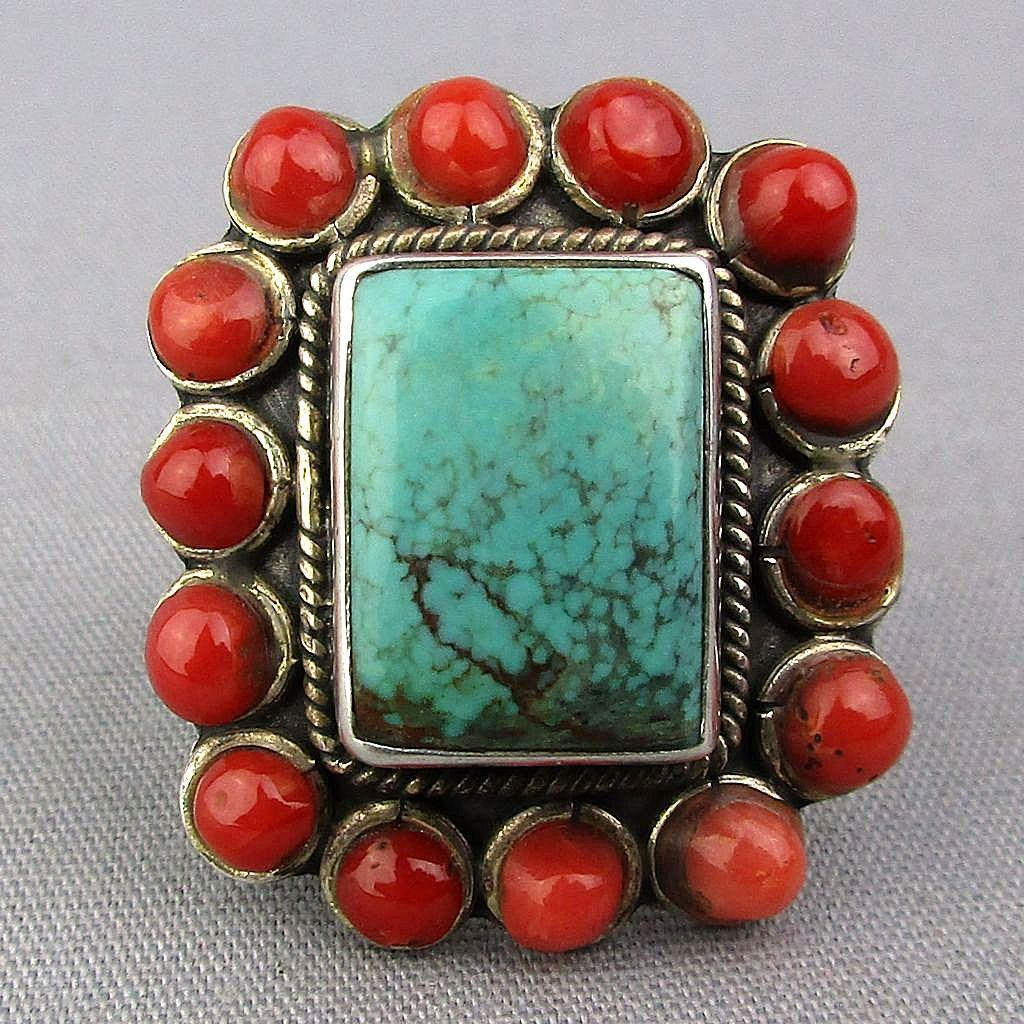 SOLD TO P.L. - Vintage Sterling Silver Turquoise Red Coral Ring Southwest Beauty