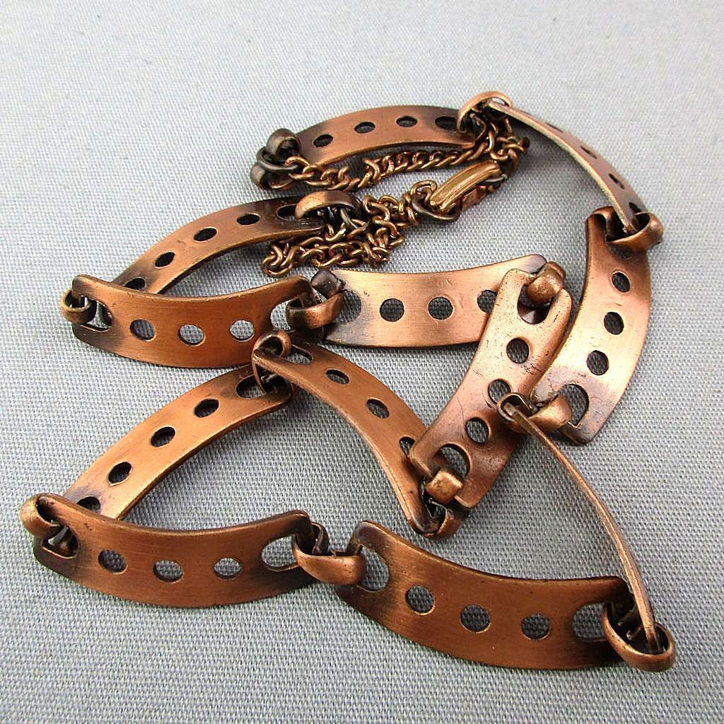 Holey Solid Copper Modernist Link Necklace