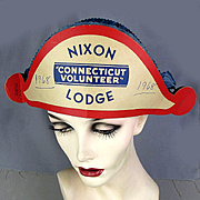 1968 NIXON - LODGE Connecticut Volunteer Foldout Hat Rare Political