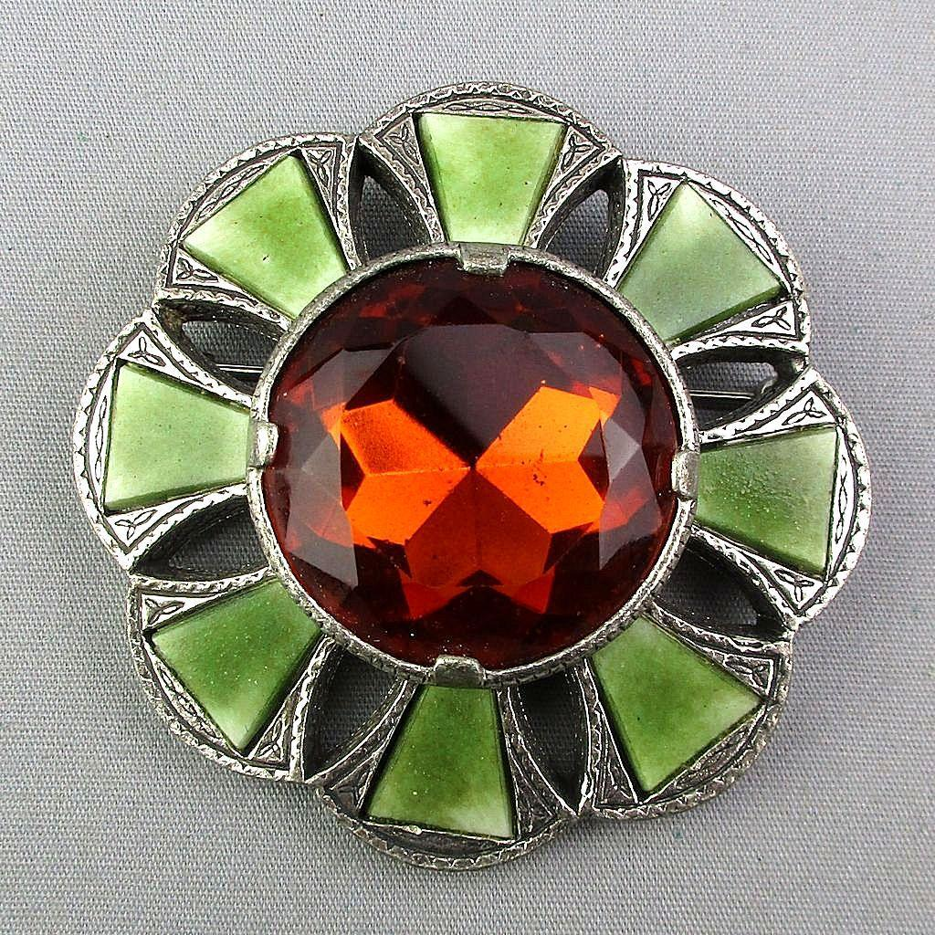 Vintage MIRACLE Large Scottish Glass Gemstone Pin Brooch