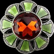 Vintage MIRACLE Large Scottish Glass Gemstone Pin Brooch