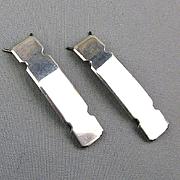 Pair of Sterling Silver Hair Barrettes - Unworn Vintage