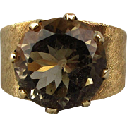 14K Gold Ring w/ Large Round Solitaire Smoky Topaz Gemstone