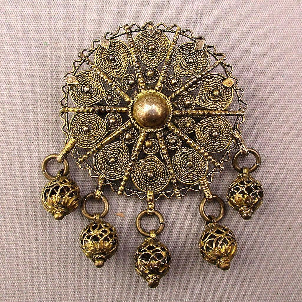 Old Filigree Sterling Silver Pin - Pendant Intricate Wire Work w/ Dangles
