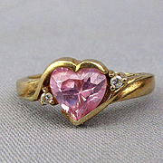 Vintage 10K Gold Ring w/ Pink Faux Sapphire Heart
