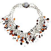 Big Vintage Bib Necklace Pearls - MOP - Beads - Stones