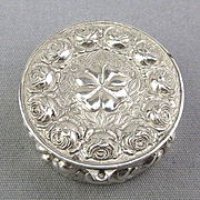 Vintage Sterling Silver Repousse Pillbox Miniature
