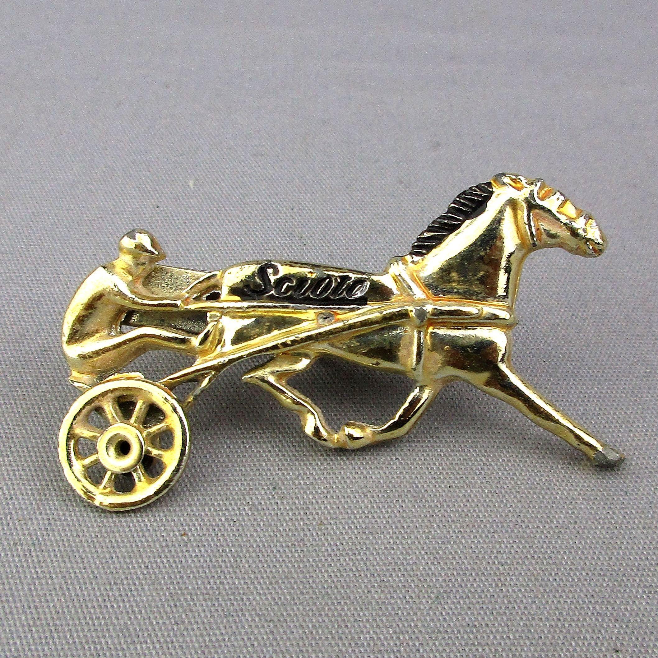 Vintage Harness Horse Racing Tie Clip Clasp Scioto Downs Ohio