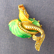 Vintage Mermaid on Shell Pin - Faux Jade Lucite - Rhinestones Figural