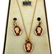 Vintage Red Glass Cameo Necklace Earrings Set w/ 24K Gold Trim Unused in Box