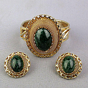 Vintage Goldtone Mesh Hinge Bracelet Faux Jade w/ Clip Earrings