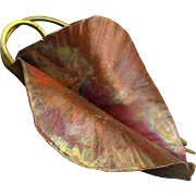 Mid Century Handwrought Copper Brass Leaf Pin