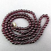Wispy Garnet Bead Necklace 14K Gold Clasp