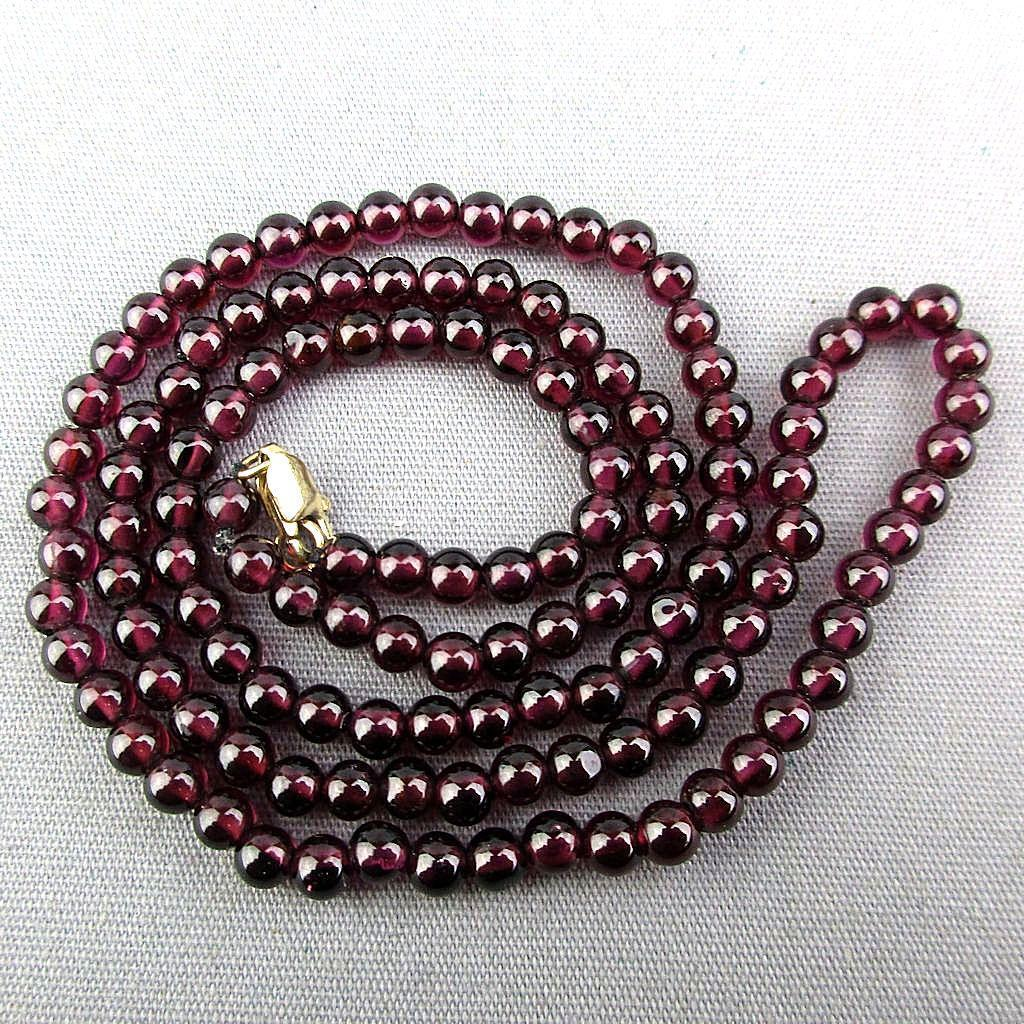 Wispy Garnet Bead Necklace 14K Gold Clasp