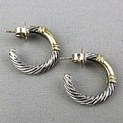 Vintage David Yurman Sterling Silver 14K Gold Earrings - Hoops