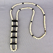 Vintage White Marble Stone Bead Necklace w/ Dominoes