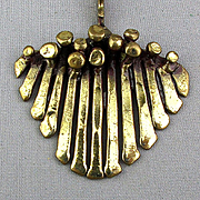 Modernist Brutalist Pendant Necklace Hammered Brass - Soft and Edgy