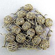 Vintage Silverplated Woven Bird Nest Bead Necklace