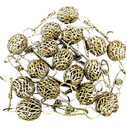 Vintage Silverplated Woven Bird Nest Bead Necklace