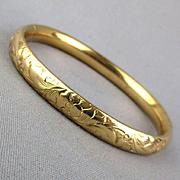 Victorian Gold-Filled Etched Bracelet Hinged Slide