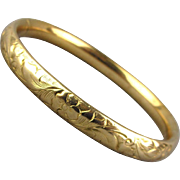 Victorian Gold-Filled Etched Bracelet Hinged Slide