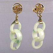 Estate 14K Gold Jade Earrings - 3 Carved Jadeite Interlocking Rings