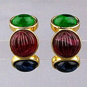Bold Vintage DIOR Clip Earrings Jewel Tone Poured Glass Stones