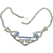 Pretty 1950s Rhinestone Necklace - Clear and Blue