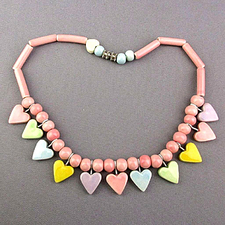 Signed 1980s FLYING COLORS Ceramic Hearts Necklace