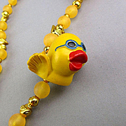 Just Ducky Vintage Lucite Rubber Duck Necklace