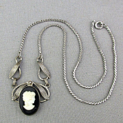 Vintage VAN DELL Sterling Silver Cameo Girl Necklace 1940s